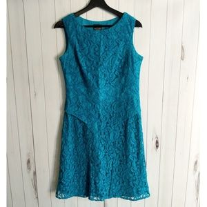Adrianna Papell teal lace sheath dress